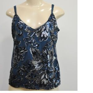 White House Black Market Sequin Flower Cami Top